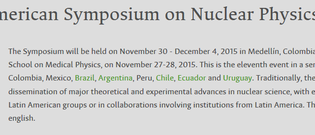 Daniel R. Napoli y Silvia Lenzi participarán al «11th Latin American Symposium on Nuclear Physics and Applications» en Medellín, Colombia.