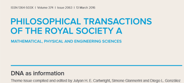 Numero especial de Philosophical Transactions: «DNA as information» editado por Julyan H.E. Cartwright, Simone Giannerini y Diego L. González