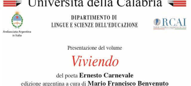 """El profesor Mario Benvenuto presentará """"Viviendo, antología poética de Ernesto Carnevale"""" en la Universidad de Calabria"""