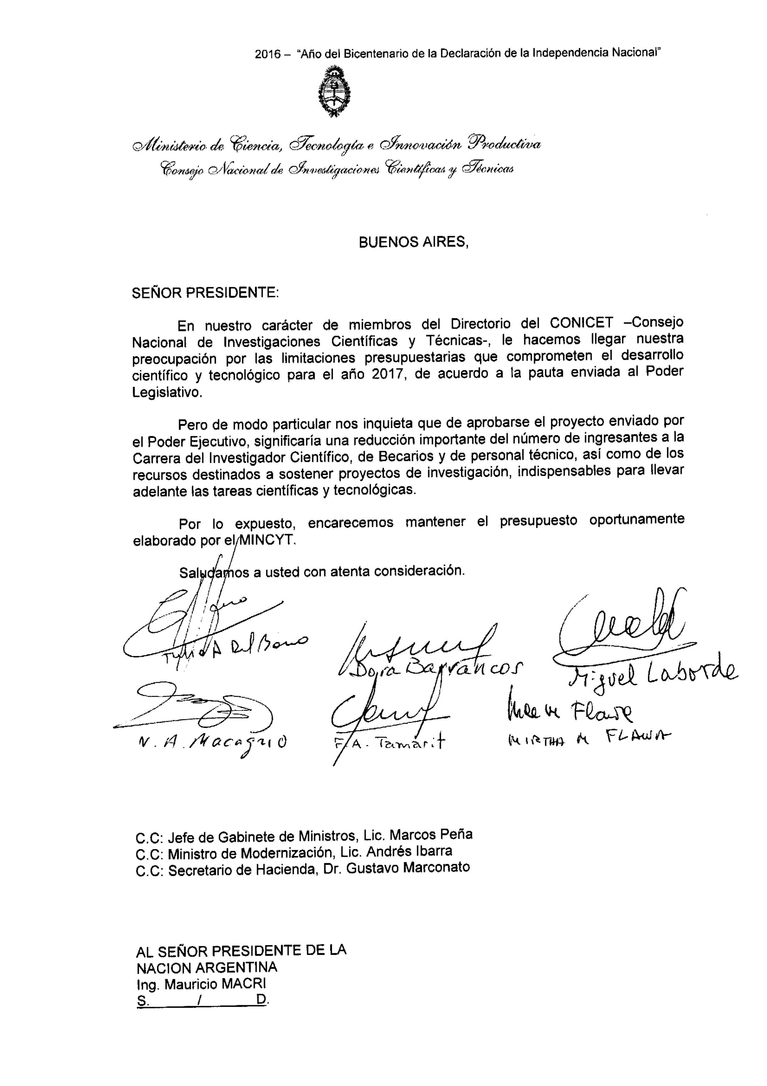 carta-del-directorio-al-presidente-de-la-nacion