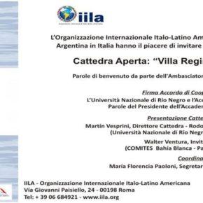 "Cátedra Abierta; """"Villa Regina, Italia in Patagonia"""