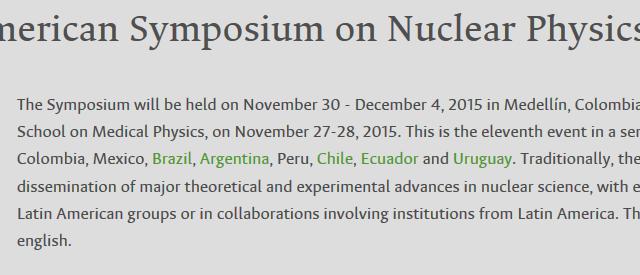 Daniel R. Napoli y Silvia Lenzi participarán al «11th Latin American Symposium on Nuclear Physics and Applications» en Medellín, Colombia.