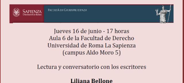 """Los escritores Liliana Bellone y Antonio Gutiérrez el 16 de Junio en la Universidad de Roma """"Sapienza"""""""